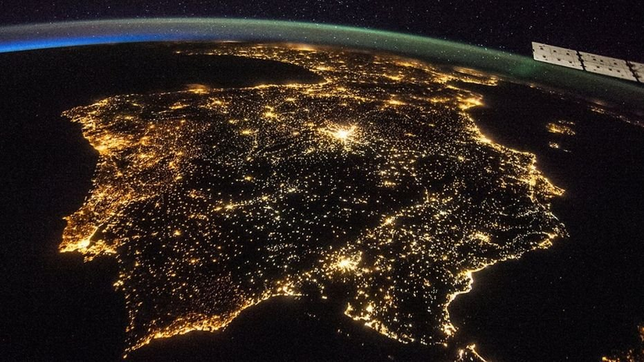 This image taken from the International Space Station shows artificial lights from Spain and Portugal.  (NASA)