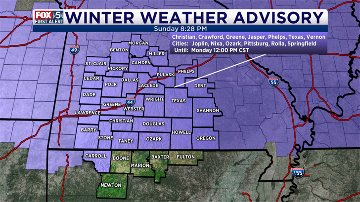 Winter weather advisory in effect; 3-5 inches of snow expected